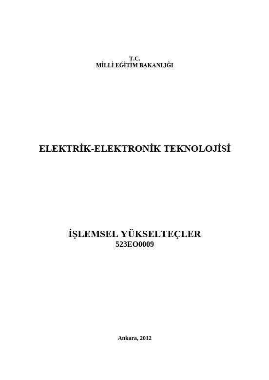 İşlemsel Yükselteçler ders notu pdf