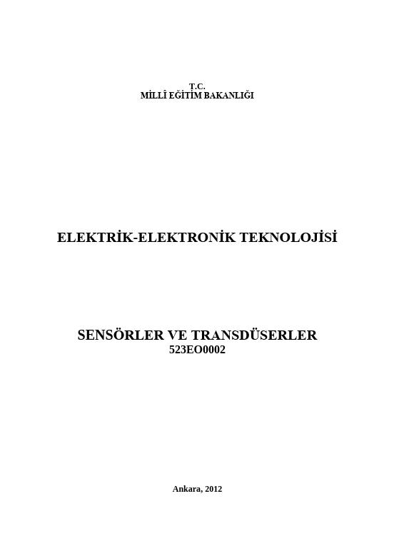 Sensörler Ve Transduserler ders notu pdf