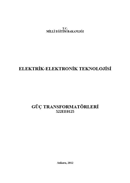 Güç Transformatörleri ders notu pdf