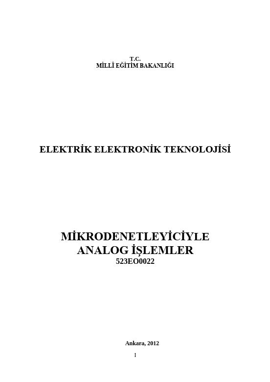 Mikrodenetleyici Ile Analog İşlemler ders notu pdf