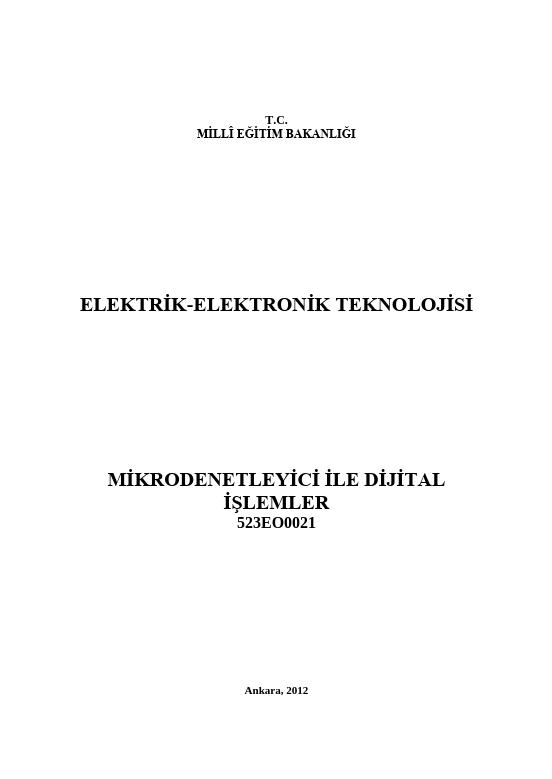 Mikrodenetleyici Ile Dijital İşlemler ders notu pdf