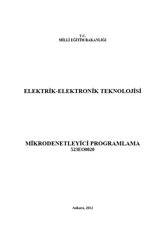Mikrodenetleyici Programlama ders notu pdf