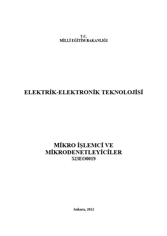 Mikroişlemci Ve Mikrodenetleyiciler ders notu pdf