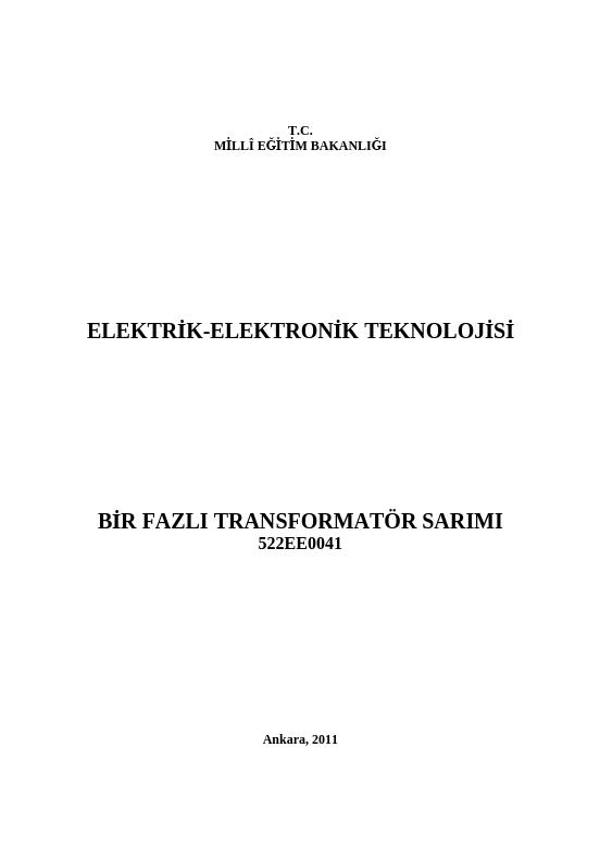 Bir Fazlı Transformatör Sarımı
