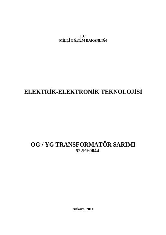 Og-yg Transformatör Sarımı