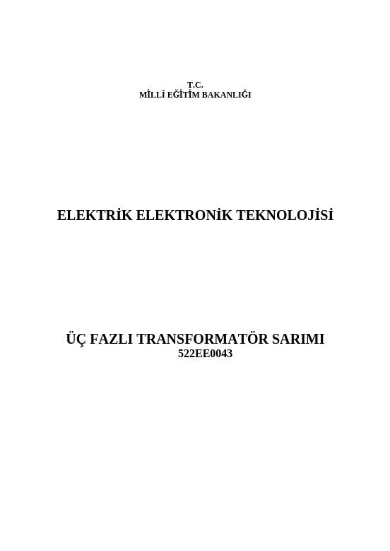 Üç Fazlı Transformatör Sarımı
