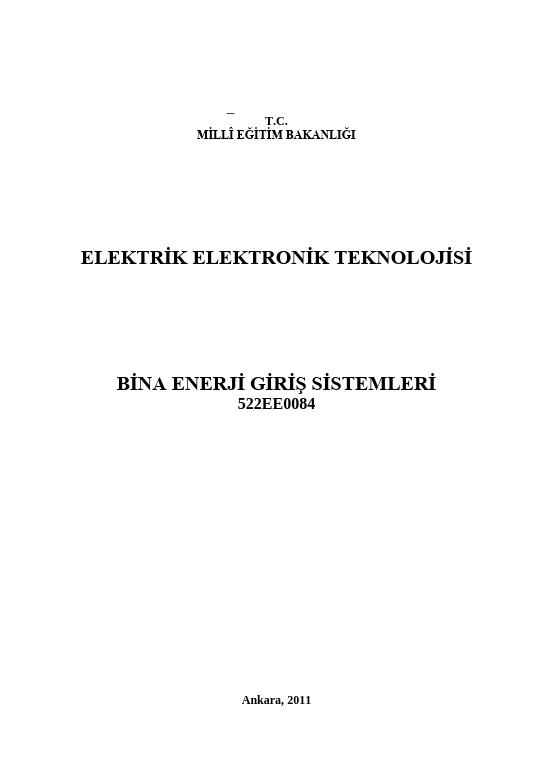 Bina Enerji Giriş Sistemleri