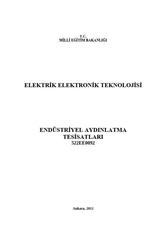 Endüstriyel Aydınlatma Tesisatları ders notu pdf