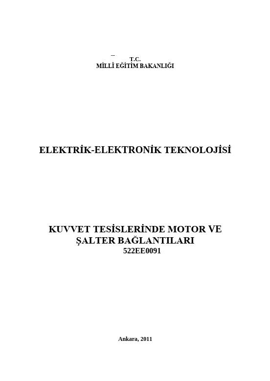 Kuvvet Tesislerinde Motor Ve Şalter Bağlantıları