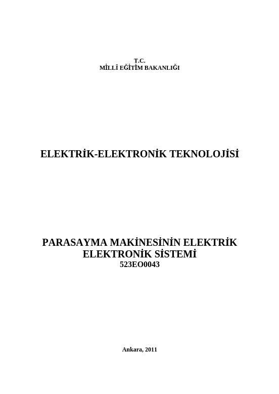 Para Sayma Makinesinin Elektrik-elektronik Sistemi