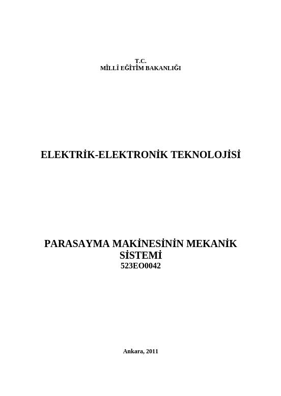 Para Sayma Makinesinin Mekanik Sistemi