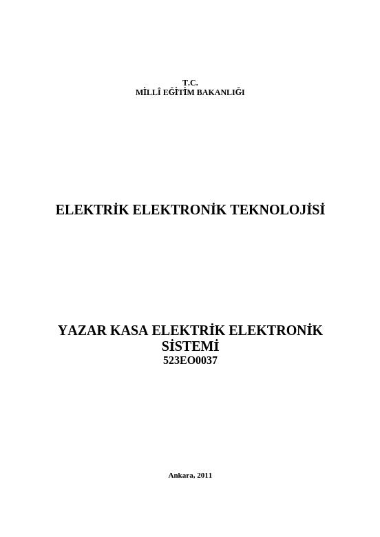 Yazar Kasa Elektrik-elektronik Sistemi