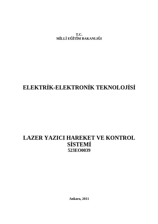 Lazer Yazıcı Hareket Ve Kontrol Sistemi ders notu pdf