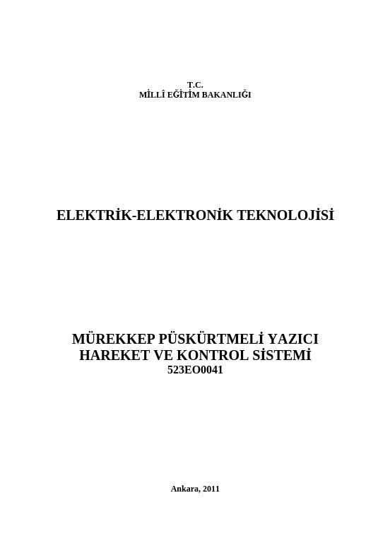 Mürekkep Püskürtmeli Yazıcı Hareket Ve Kontrol Sistemi ders notu pdf