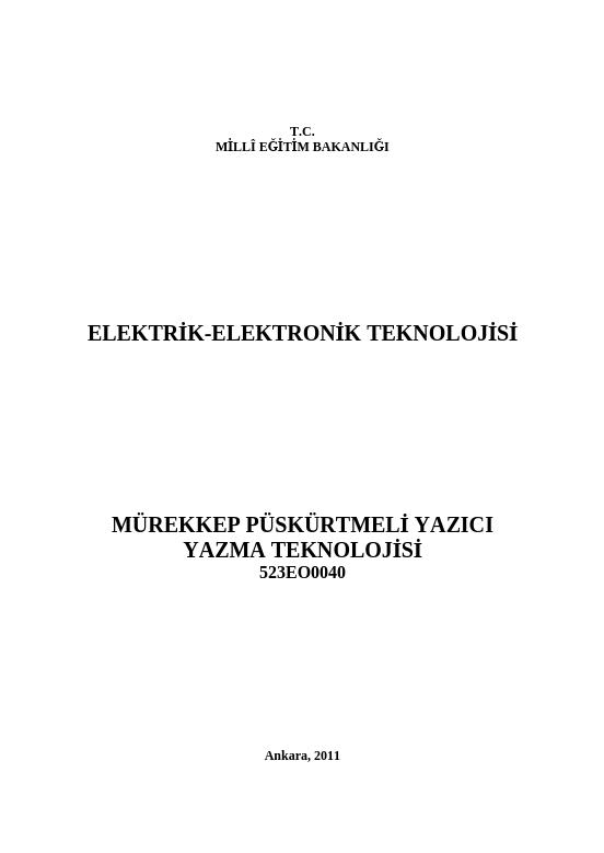 Mürekkep Püskürtmeli Yazıcı Yazma Teknolojisi ders notu pdf