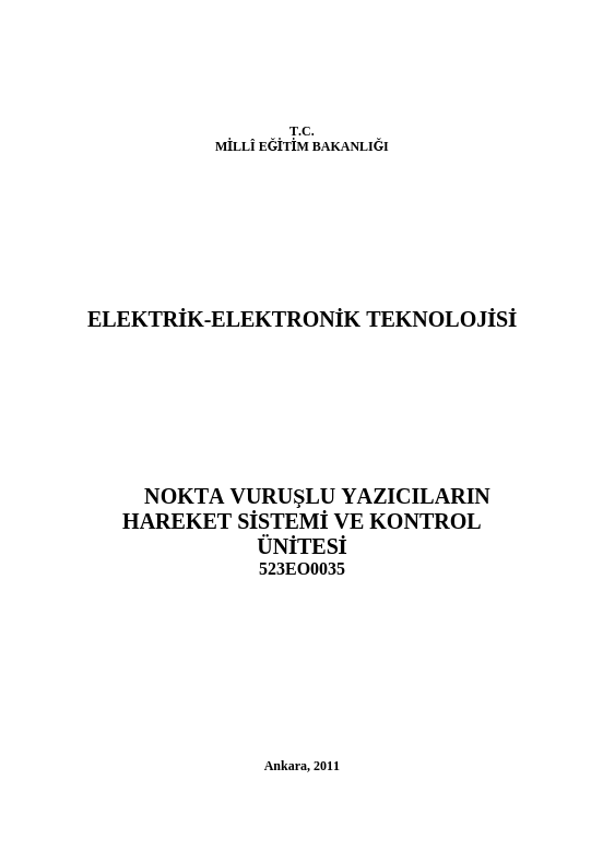 Nokta Vuruşlu Yazıcıların Hareket Sistemi Ve Kontrol Ünitesi ders notu pdf