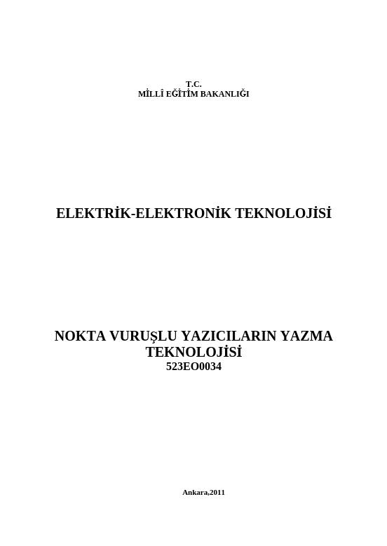 Nokta Vuruşlu Yazıcıların Yazma Teknolojisi ders notu pdf