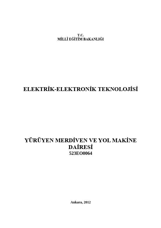 Yürüyen Merdiven Ve Yol Makine Dairesi ders notu pdf