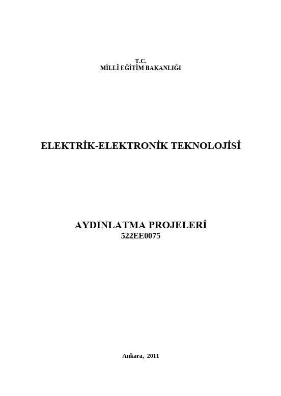 Aydınlatma Projeleri ders notu pdf