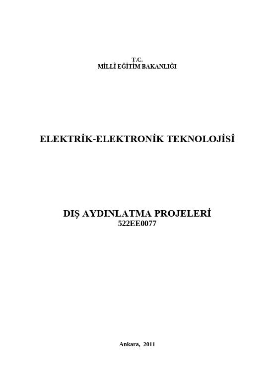 Dış Aydınlatma Projeleri ders notu pdf