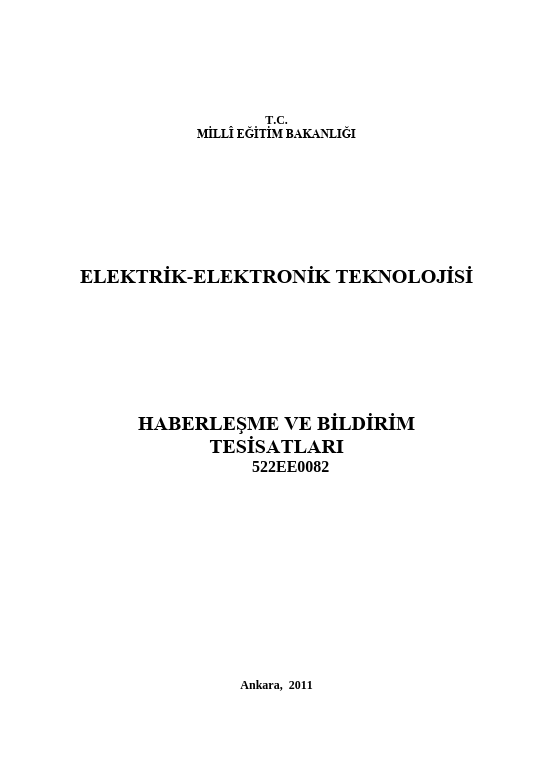 Haberleşme Ve Bildirim Tesisatları ders notu pdf