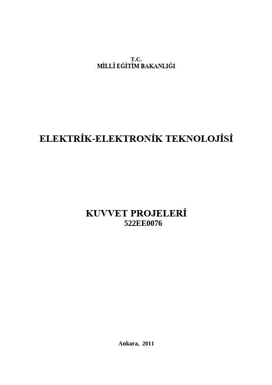 Kuvvet Projeleri ders notu pdf