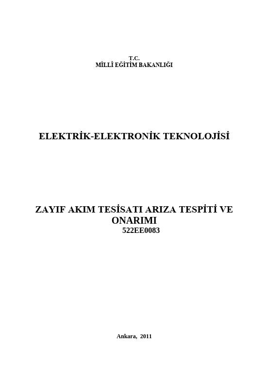 Zayıf Akım Tesisatı Arıza Tespiti Ve Onarımı ders notu pdf