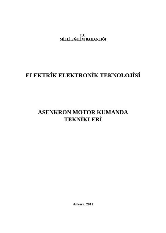 Asenkron Motor Kumanda Teknikleri