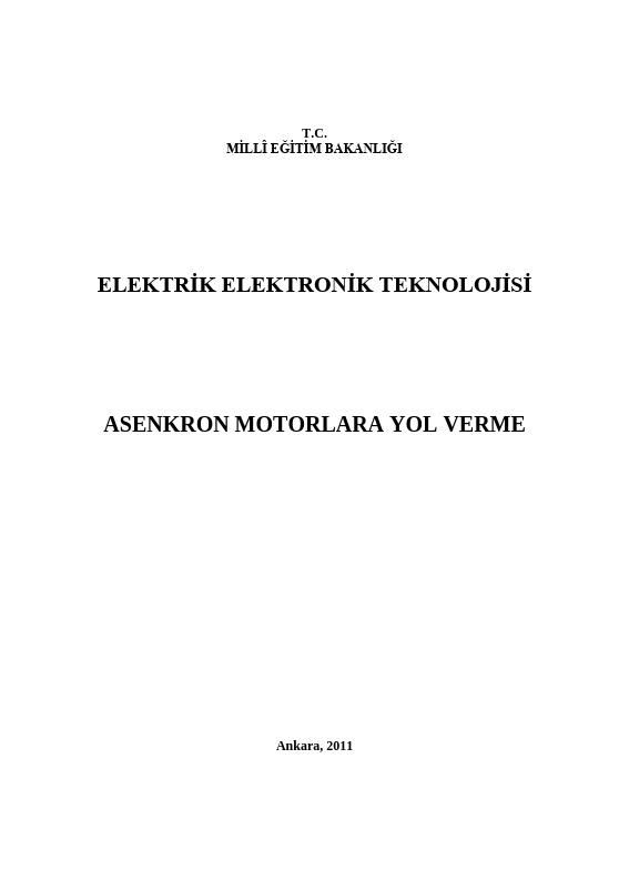 Asenkron Motorlara Yol Verme ders notu pdf