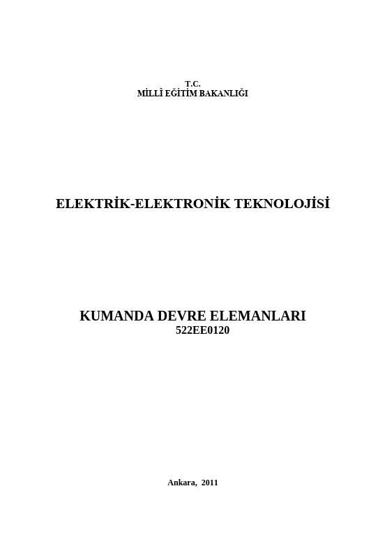 Kumanda Devre Elemanları ders notu pdf