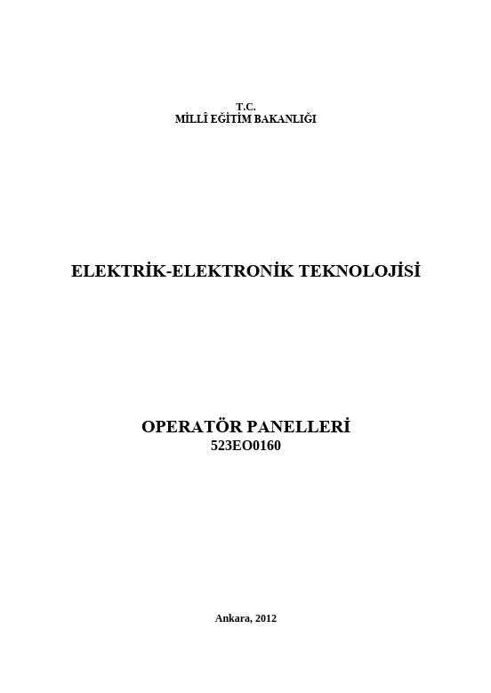 Operatör Panelleri ders notu pdf