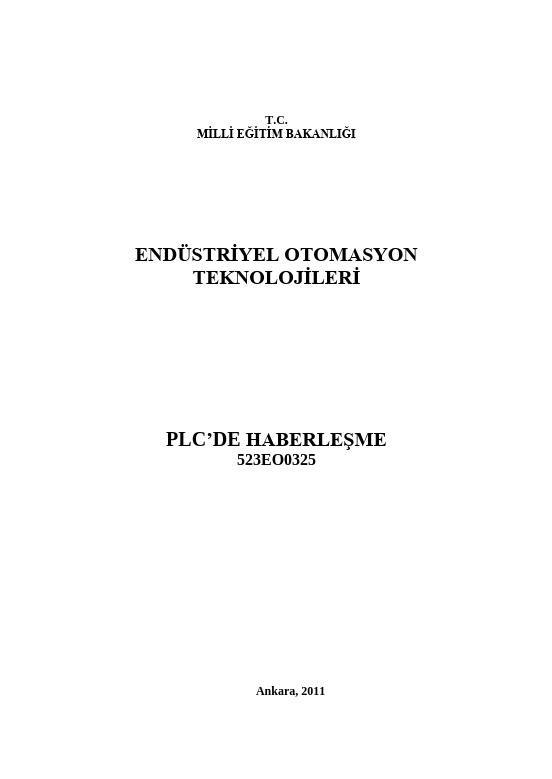 Plc de Haberleşme ders notu pdf