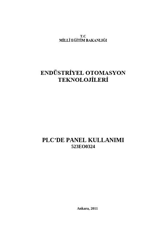 Plc de Panel Kullanımı ders notu pdf