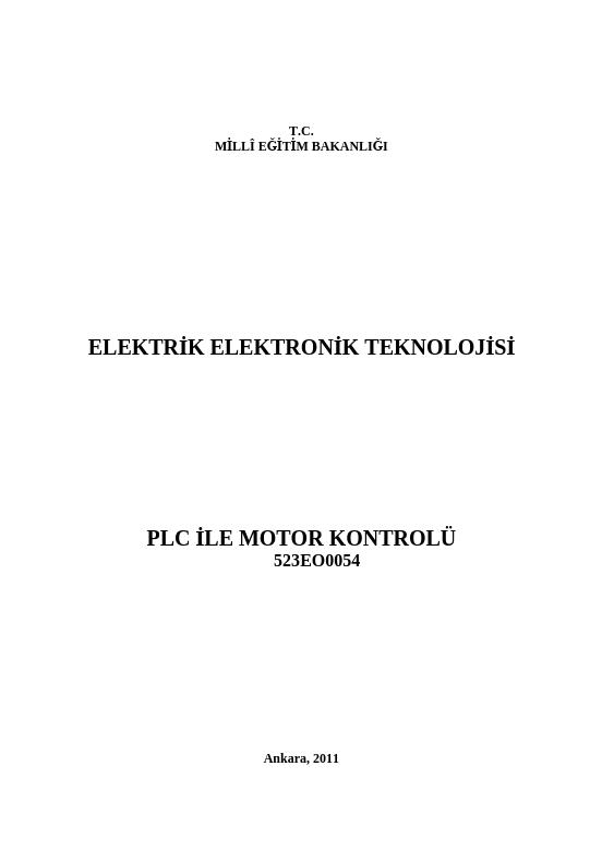 Plc Ile Motor Kontrolü ders notu pdf