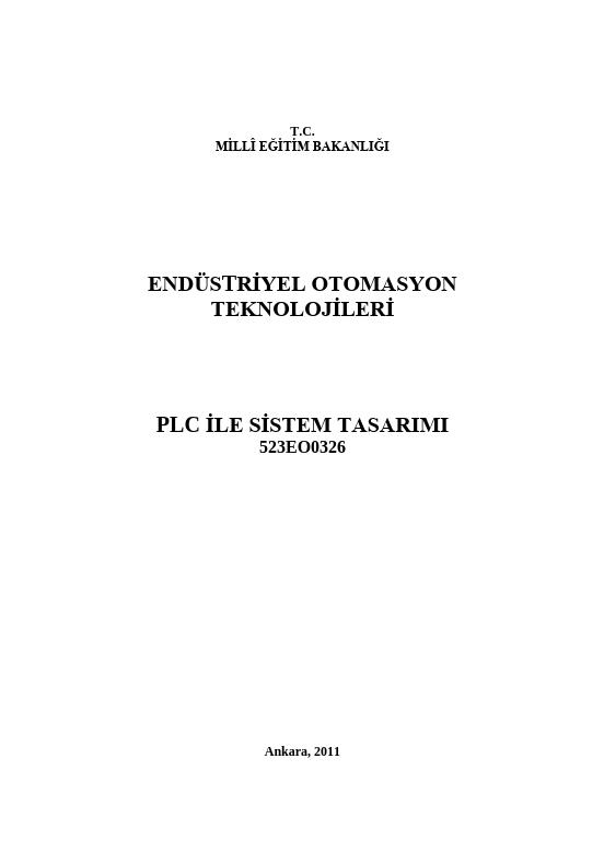 Plc Ile Sistem Tasarımı ders notu pdf