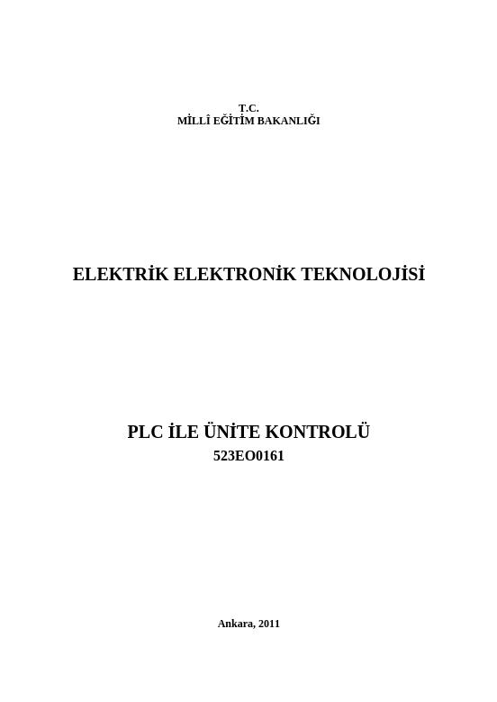 Plc Ile Ünite Kontrolü ders notu pdf