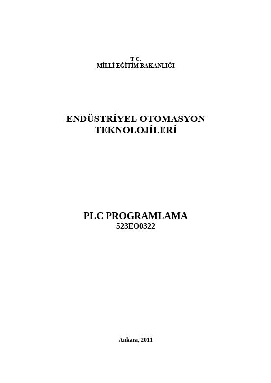 Plc Programlama  (endüstriyel Otomasyon) ders notu pdf