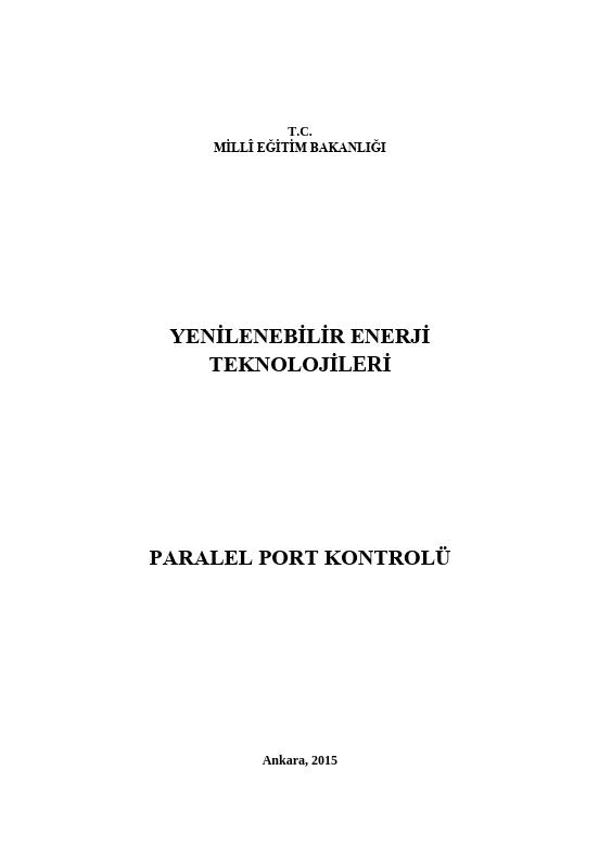 Paralel Port Kontrolü ders notu pdf