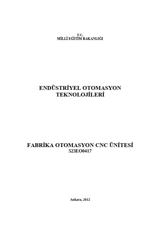 Fabrika Otomayon Cnc Ünitesi ders notu pdf