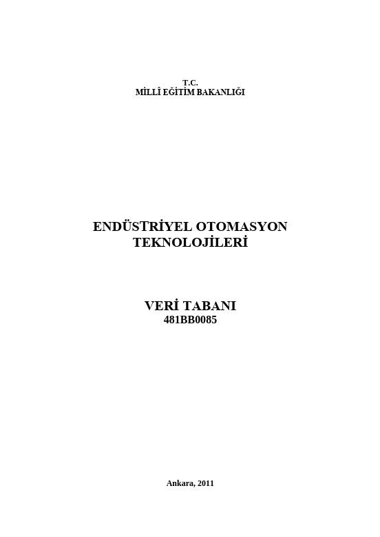 Veri Tabanı  (endüstriyel Otomasyon) ders notu pdf