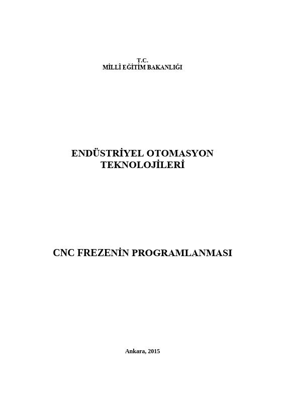 Cnc Frezenin Programlanması ders notu pdf