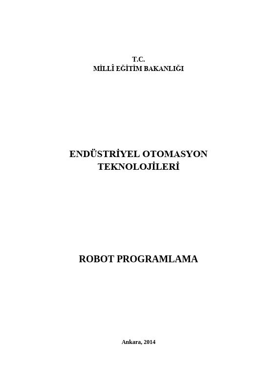 Robot Programlama ders notu pdf