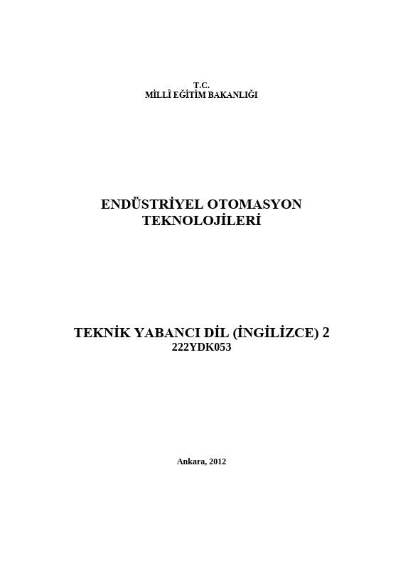 Teknik Yabancı Dil (İngilizce) 2 (endüstriye Otomasyon)