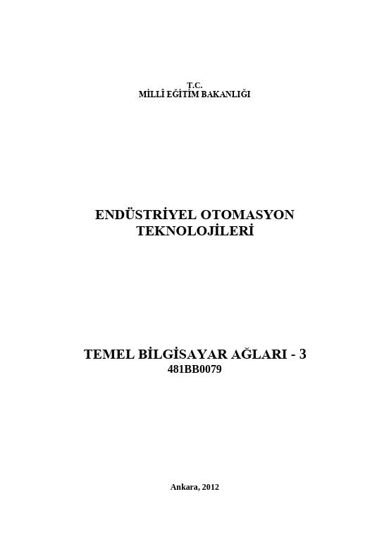 Temel Bilgisayar Ağları 3 ders notu pdf