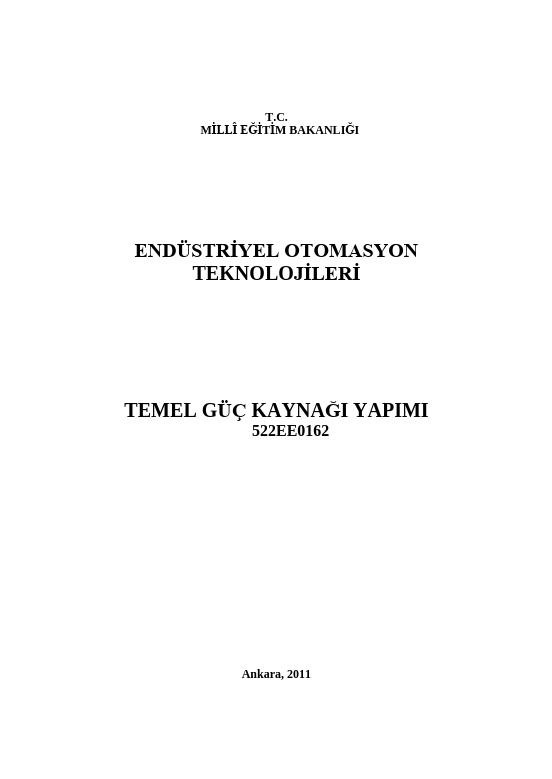 Temel Güç Kaynağı Yapımı ders notu pdf
