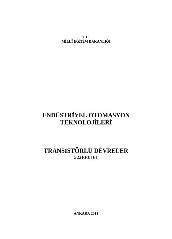 Transistörlü Devreler ders notu pdf