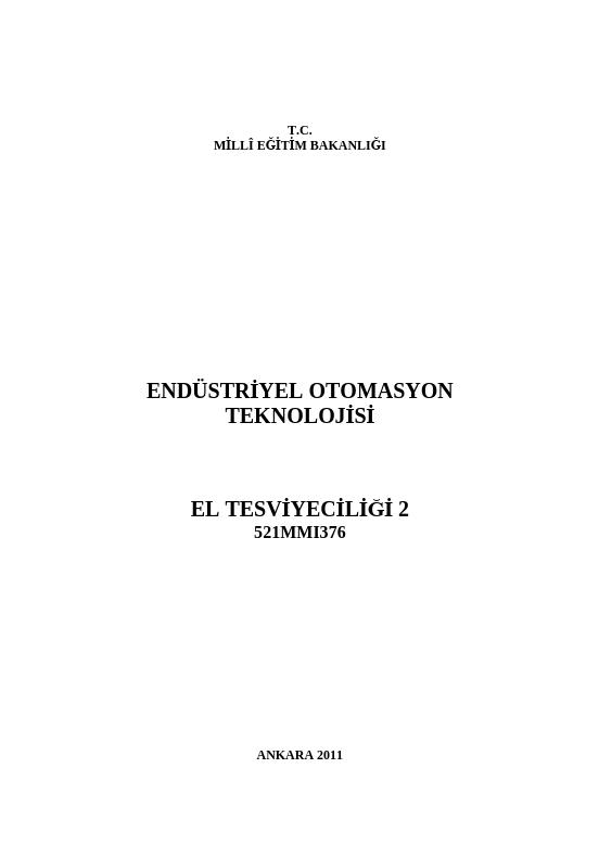 El Tesviyeciliği 2 ders notu pdf