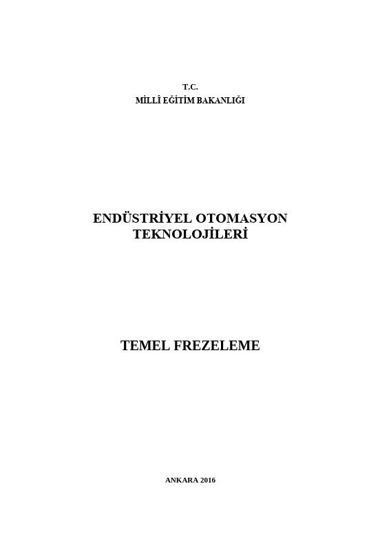 Temel Frezeleme ders notu pdf