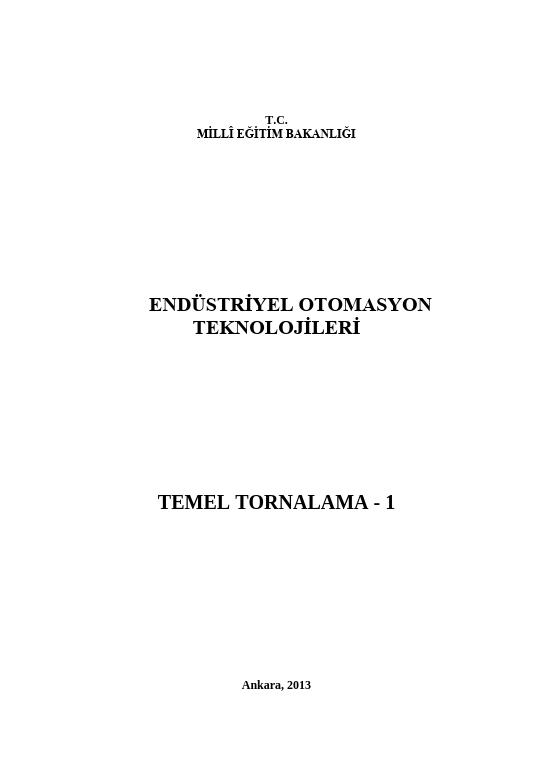 Temel Tornalama 1 ders notu pdf