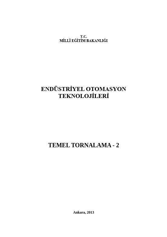 Temel Tornalama 2 ders notu pdf